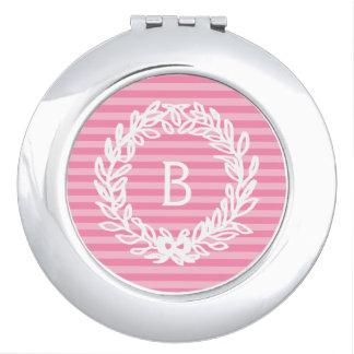 Pink Stripes Monogram Floral Wreath Mirror For Makeup