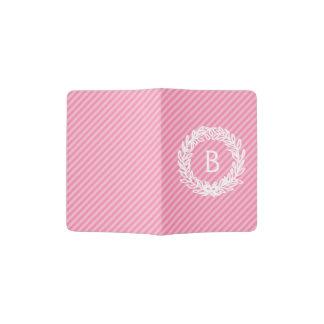 Pink Stripes Monogram Floral Wreath Passport Holder