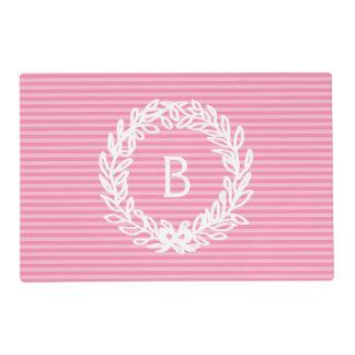 Pink Stripes Monogram Floral Wreath Placemat