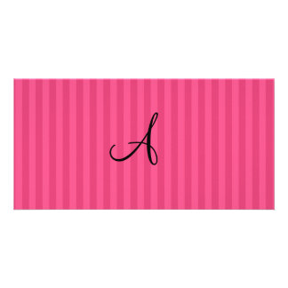 Pink stripes monogram photo cards