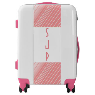 Pink stripes monogrammed luggage
