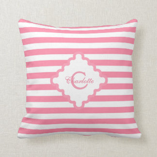 Pink Stripes Monogrammed Square Accent Pillow