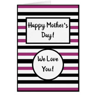 Pink Stripes Mother's Day Card