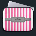 "Pink stripes Neoprene Laptop Sleeve<br><div class=""desc"">Protect your laptop with a custom laptop sleeve. Made with 100% neoprene,  these lightweight and water resistant sleeves look great with your photos,  text,  or designs.</div>"