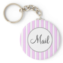 Pink Stripes on White Mail Key Keychain