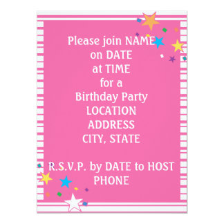 Pink Stripes Oval Party Collage Invitation