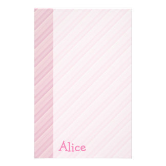 Pink stripes paper with girl name - Stationery
