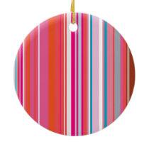 Pink Stripes Pattern Ceramic Ornament