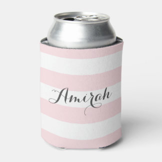 Pink Stripes Pattern | Personalized Can Coolers Can Cooler