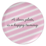 Pink Stripes Pattern Plate Cute Saying Personalize