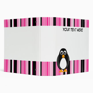 Pink Stripes Penguin Scrapbook / School Binder