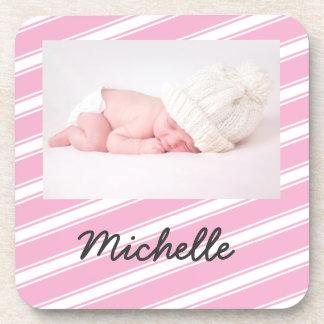 Pink Stripes Personalized Baby Coaster Set Pattern