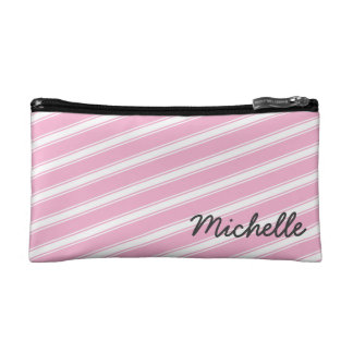 Pink Stripes Personalized Cosmetic Bag Pattern