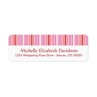 Pink Stripes Personalized Return Address Labels