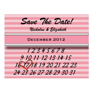 Pink Stripes Save the Date Custom Calandar Postcard