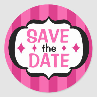 Pink Stripes Save the Date Sticker
