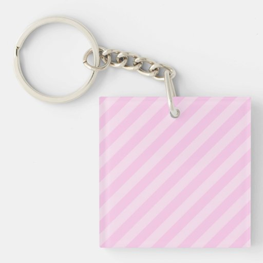 Pink Stripes. Single-Sided Square Acrylic Keychain