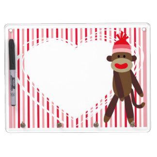 Pink Stripes Sock Monkey Dry Erase Board