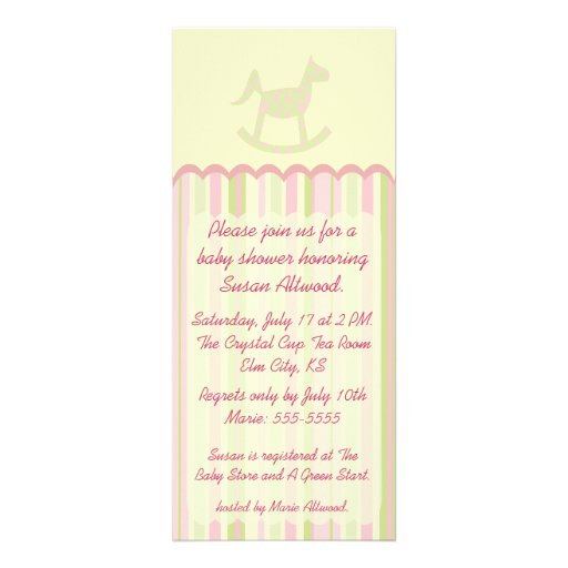 Pink Stripes Tall Baby Shower Invitation