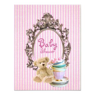 pink stripes teddy bear baby shower invitations