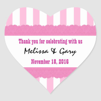 Pink Stripes Thank You Double Lace Wedding V2H Heart Sticker