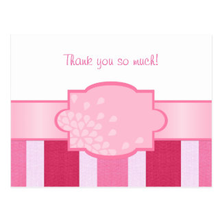 Pink Stripes Thank You Postcard