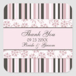 Pink Stripes Thank You Wedding Favor Tags Square Stickers