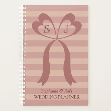 Bride Themed Pink Stripes Two Hearts Bow Wedding Planner