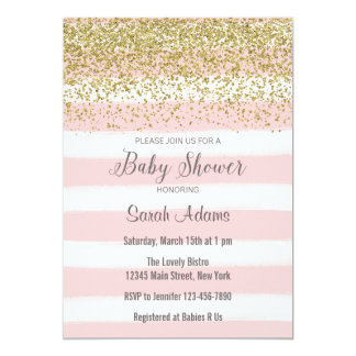 Pink Stripes Watercolor Baby Shower Invitation