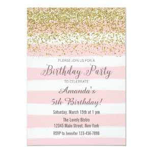 Pink Stripes Watercolor Birthday Invitation