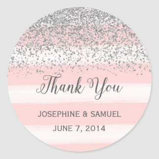 Pink Stripes Watercolor Round Stickers