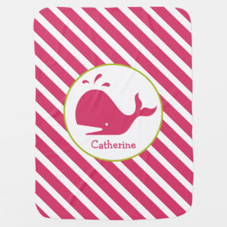 Pink Stripes + Whale Personalized Baby Blanket