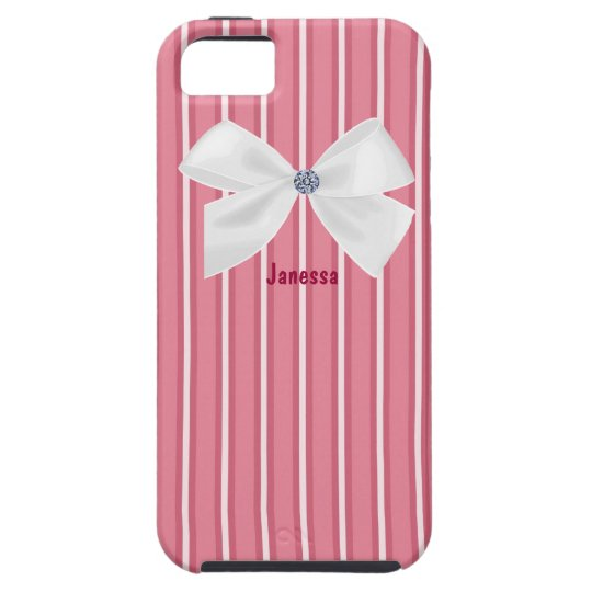 Pink Stripes with a White Bow iPhone SE/5/5s Case