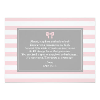 Pink Stripes with Bow Baby Shower Guest Book Card