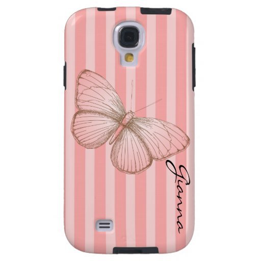 Pink Stripes with Butterfly Galaxy S4 Case