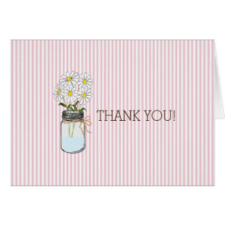 Pink Stripes with Country Mason Jar Thank You Card