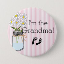 Pink Stripes with Mason Jar I'm The Grandma Pinback Button
