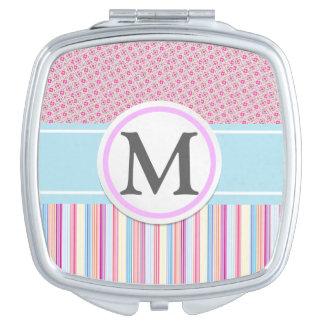Pink Stripes with Pattern Makeup Mirror