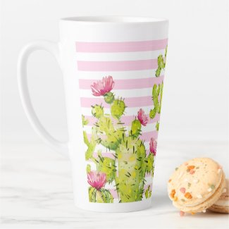 Pink Stripes with Prickly Pear Cactus Watercolor Latte Mug