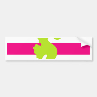 Pink stripes with seahorse car bumper sticker