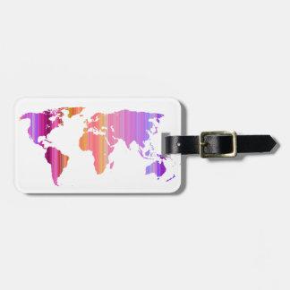 Pink Stripey World Luggage Tag