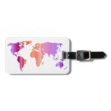 Quirina Pink Stripey World Luggage Tag