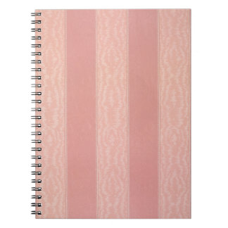 Pink stripped moire design wallpaper, 1895-1910 notebook