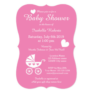 Pink stroller baby shower invitations for girl