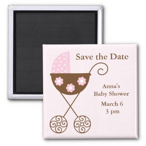 Pink Stroller Baby Shower Save the Date Refrigerator Magnet