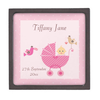 Pink Stroller & Birds New Baby Girl Premium Trinket Boxes