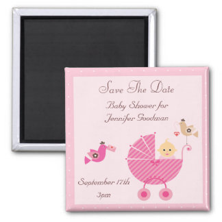 Pink Stroller & Birds Save The Date Baby Shower 2 Inch Square Magnet