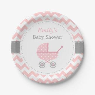 Pink Stroller Chevron Baby Girl Shower Supplies Paper Plate