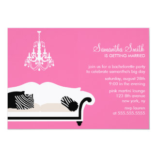 Pink Stylish Couch and Chandelier Party Card