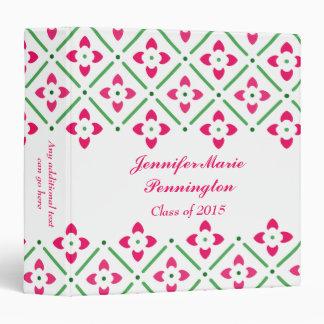 Pink stylish trendy floral graduation memory book binder